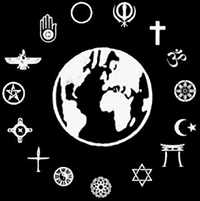 Symbols of many religions encircle the Earth
